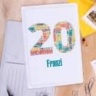 Blechpostkarte zum 20. Geburtstag mit Name bedruckt