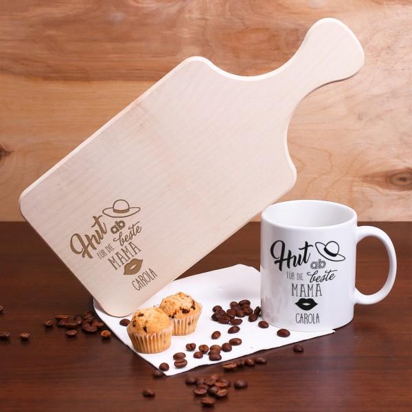 Frühstücksbrettchen mit Kaffeetasse für die Mama