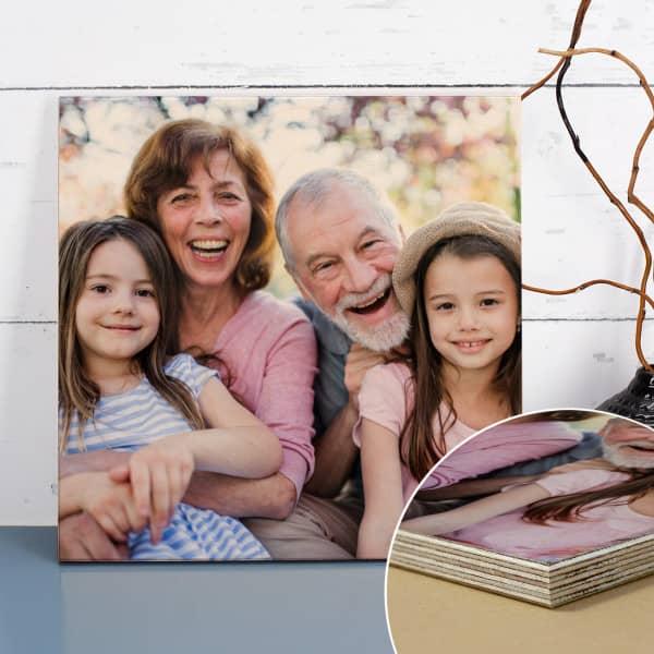 Fotogeschenk auf Holzbild gedruckt auf Holz mit Maserung