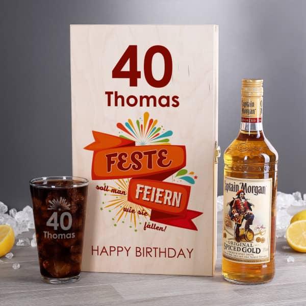 Feste Feiern wie sie fallen Captain Morgan Geschenkset mit Name und Alter