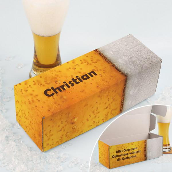 Bier-Verpackung für Weizengläser mit persönlichem Aufdruck