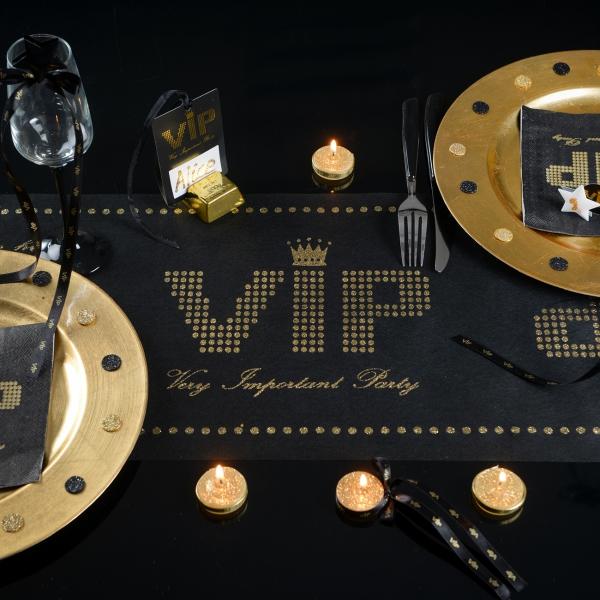 Tischläufer  VIP in Schwarz/Gold  geschenke-online.de