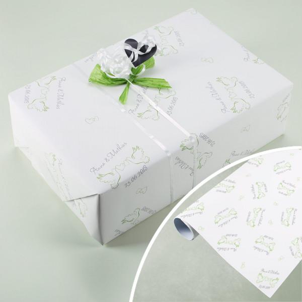 Geschenkpapier zur Hochzeit mit Taubenmotiv