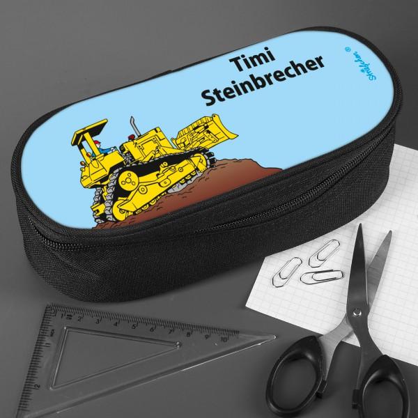 Stiftebox mit Bagger und Wunschnamen bedruckt
