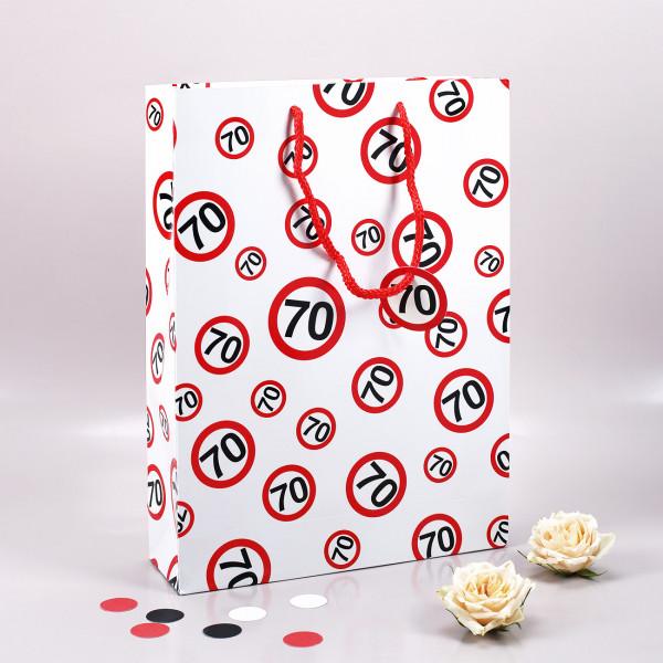 Geschenktasche mit Verkehrszeichen 70