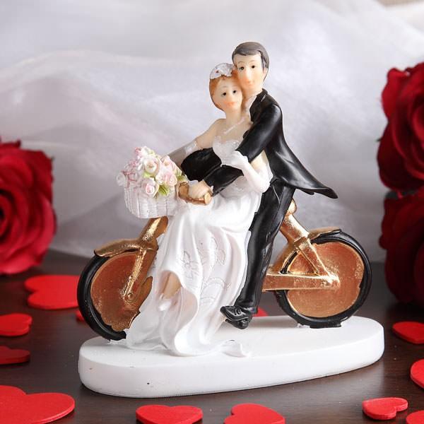 Figur Brautpaar auf Fahrrad Gold