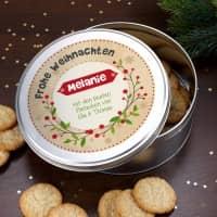 Runde Geschenkdose - Frohe Weihnachten - mit Name und Wunschtext