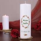 Hochzeitskerze mit Blumen in Aquarell-Optik, Namen und Datum