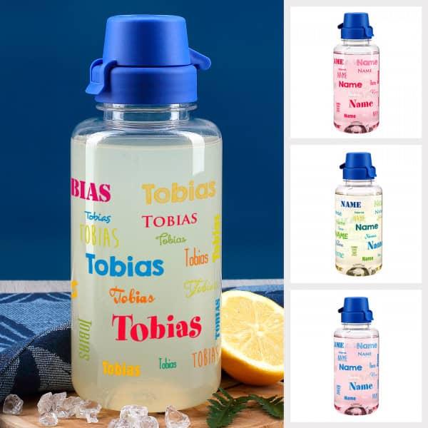 Trinkflasche mit Name in verschiedenen Farben und Schriftarten, 0,7 L