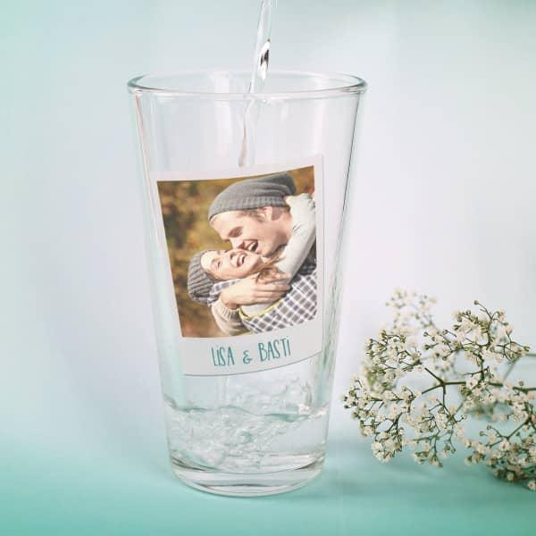 Trinkglas mit Foto und Wunschtext