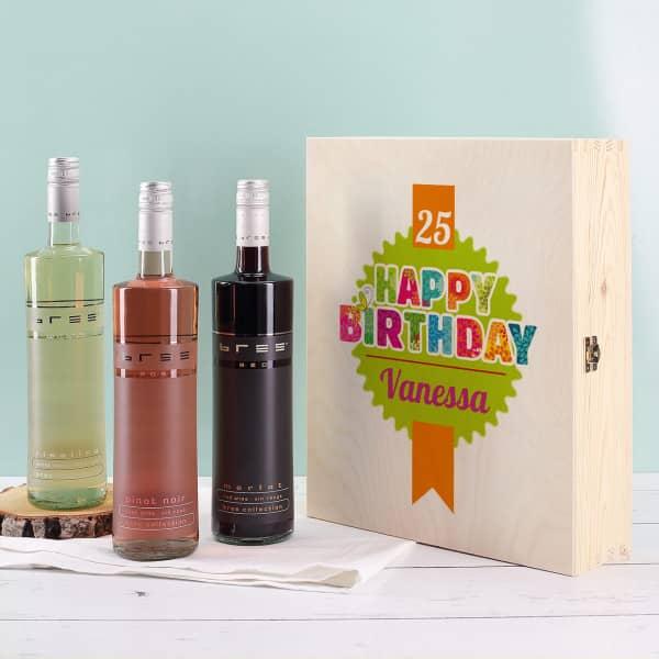 Weinset Happy Birthday mit Name und Alter