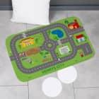 Spielteppich für unterwegs - Stadt mit Baustelle und Wunschtext 76x45cm
