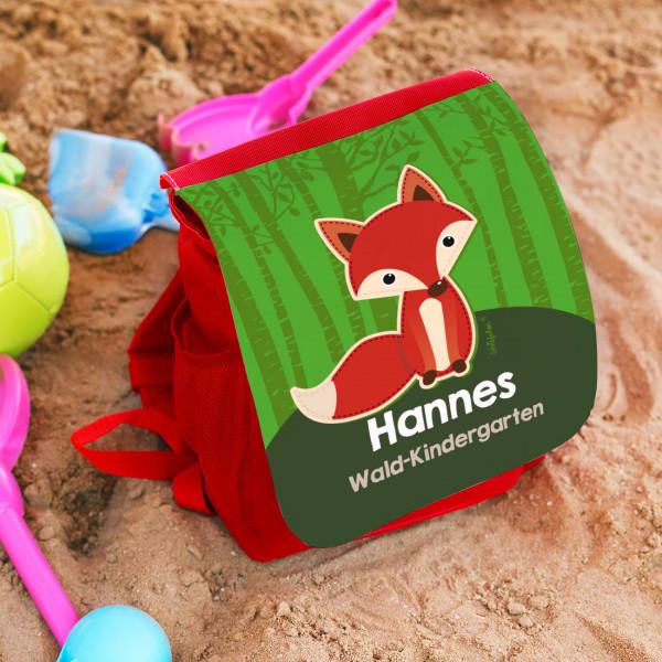 persönlicher Rucksack für Kinder mit süßem Fuchs, Name und Zusatztext