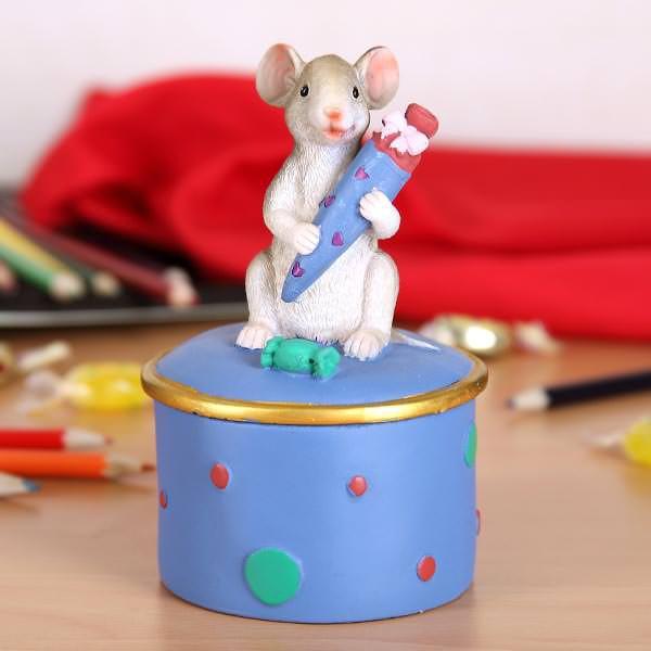 Dose Maus mit Schultüte - blau