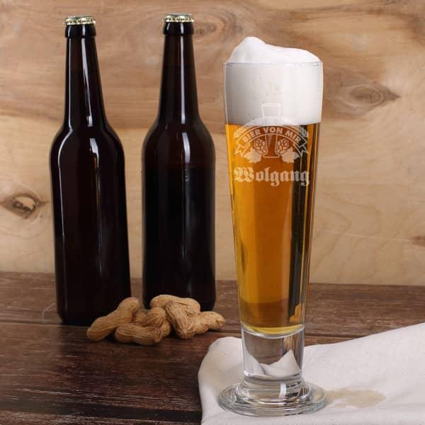 Pilsglas Bier von Mir mit Gravur