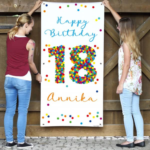 buntes happy birthday geburtstagsbanner mit konfetti 18 name und wunschtext. Black Bedroom Furniture Sets. Home Design Ideas