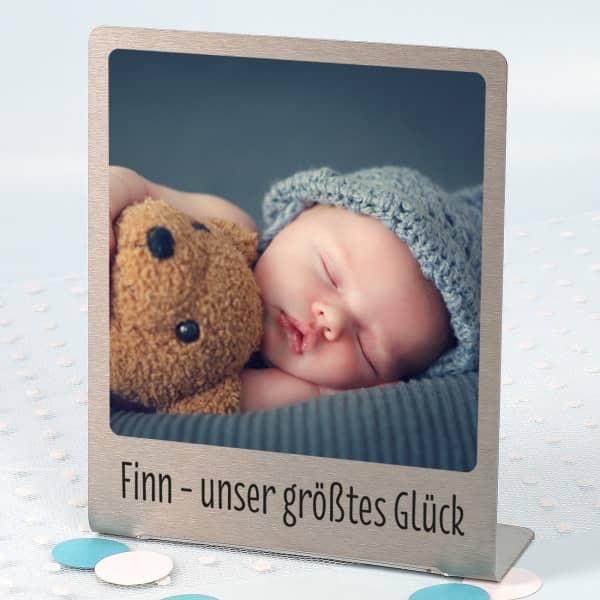 Großer Edelstahl Fotorahmen mit Ihrem Lieblingsfoto und Wunschtext