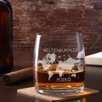 Whiskeyglas Weltenbummler mit Namensgravur