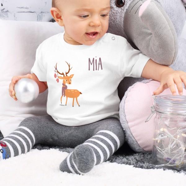 Rentier Shirt für Babys in weiß mit Wunschname