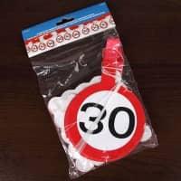 Papiergirlande - Verkehrsschild 30