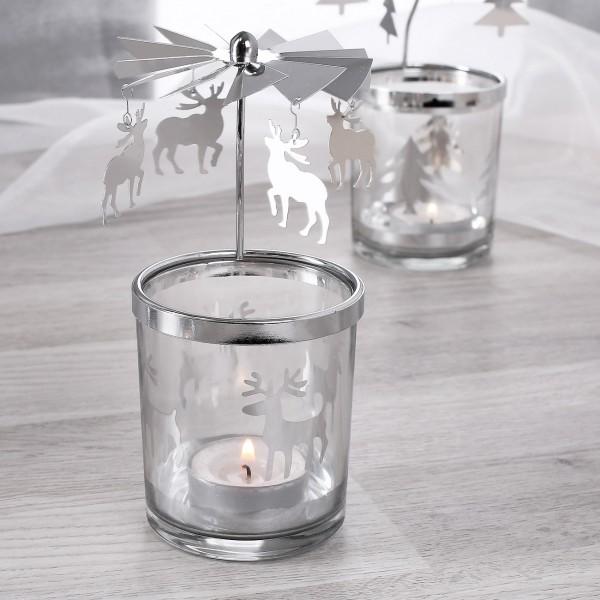 Rotierender Teelichthalter mit Rentier