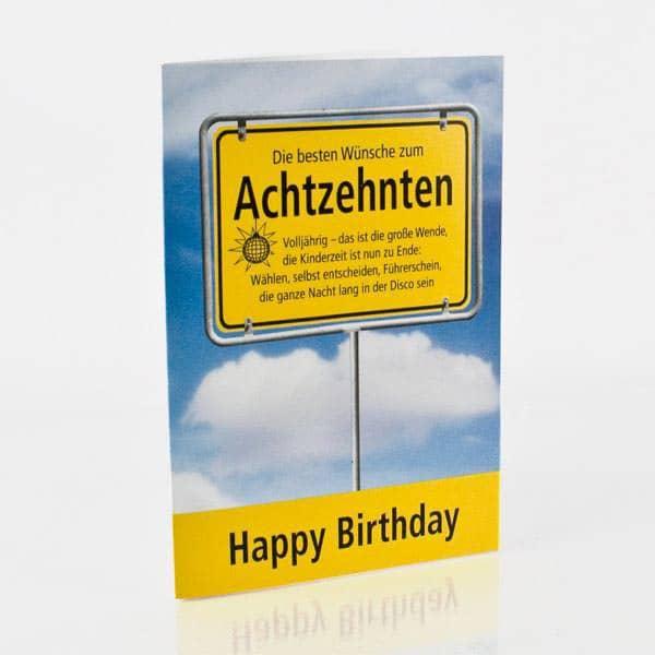 Grusskarte Zum 18 Geburtstag Mit Schonem Spruch Und Einem