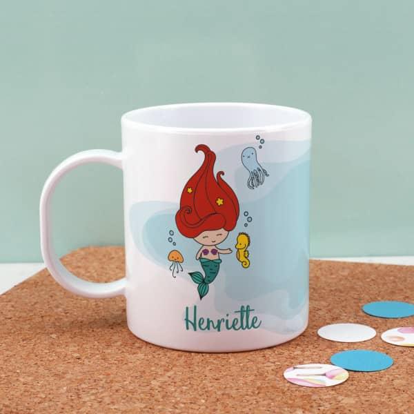 Individuellküchenzubehör - Kunststofftasse mit kleiner Meerjungfrau - Onlineshop Geschenke online.de