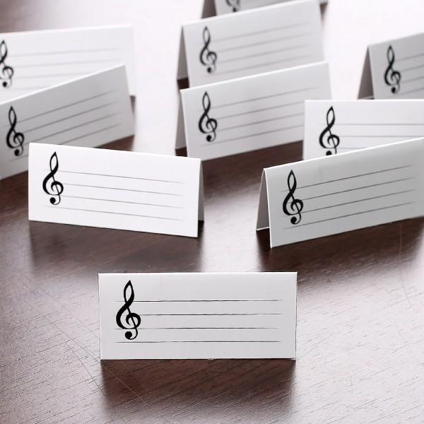Weisse Tischkarten Notenschlussel