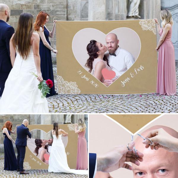 Bedrucktes Herzbanner als Hochzeitsspiel