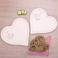 2er Set Frühstücksbrettchen in Herzform mit Taubenmotiv