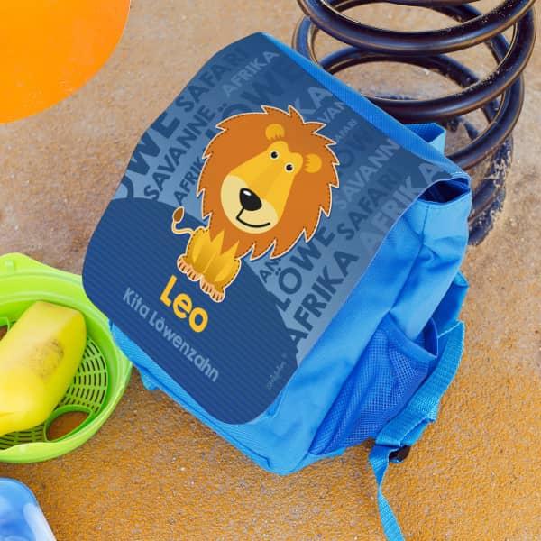 Kinderrucksack mit niedlichem Löwen, Name des Kindes und der Kita Gruppe