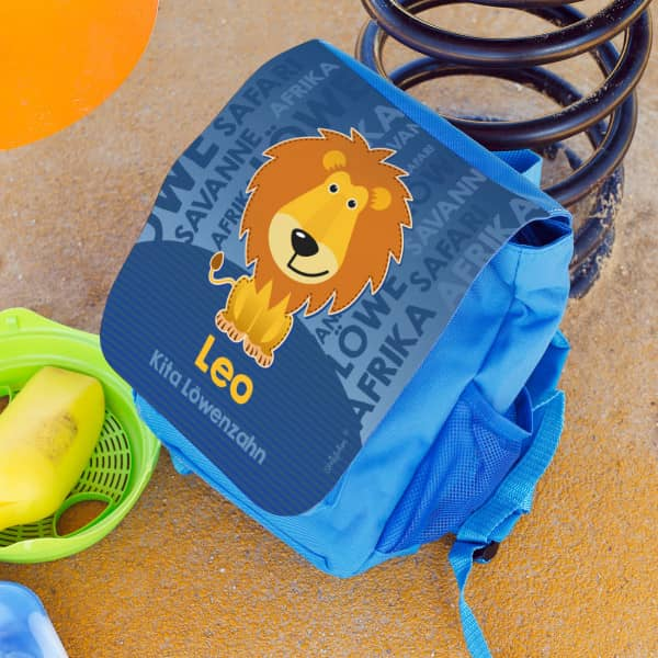 Kinderrucksack blau mit Löwenmotiv