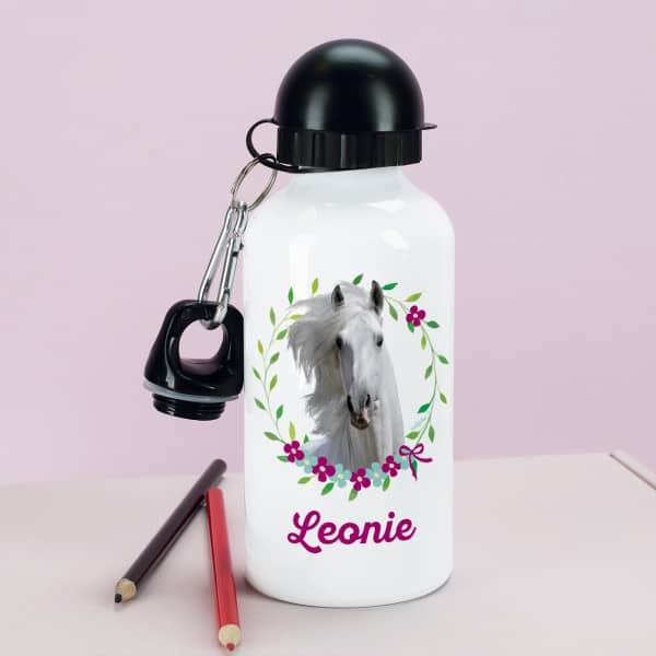 Trinkflasche mit Pferdemotiv und Wunschname