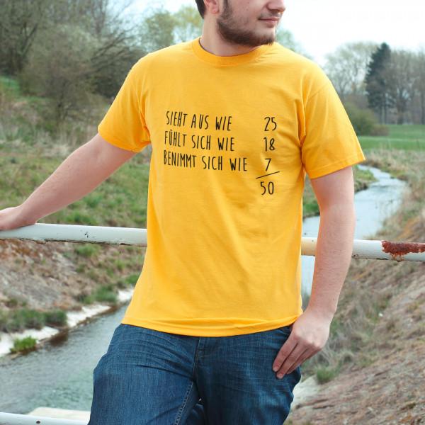 Gelbes T Shirt zum 50. Geburtstag Sieht aus wie