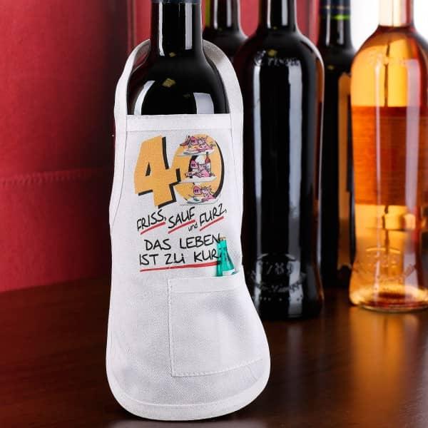 Mini-Flaschenschürze zum 40. Geburtstag