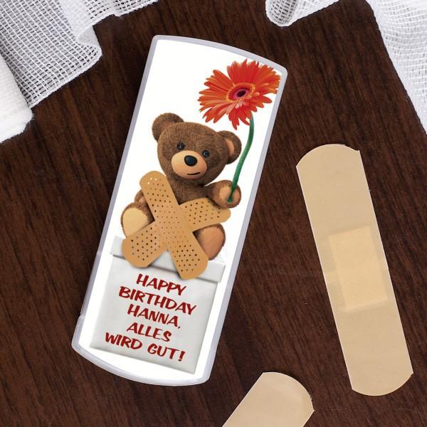 Ein Trostpflaster zum Geburtstag -Teddy mit Blume-