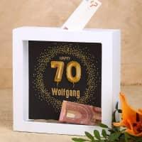 Happy 70 - Bilderrahmen Spardose zum 70. Geburtstag mit Name, 15x15cm