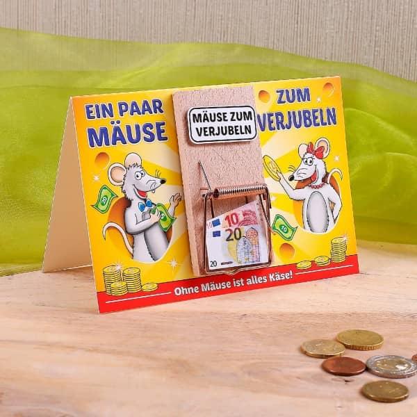 Karte mit Mausefalle - Mäuse zum Verjubeln