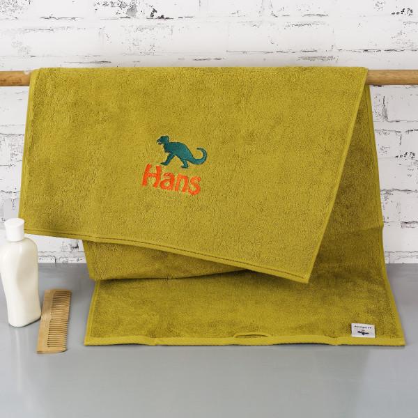 Individuellbadzubehör - Saurier Handtuch mit Name bestickt - Onlineshop Geschenke online.de