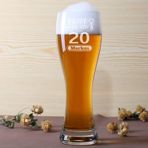 Geburtstags Weizenbierglas mit Personalisierung