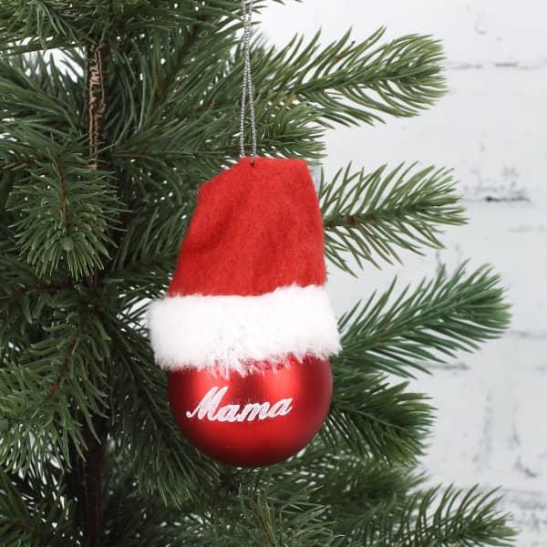 Christbaumkugel in Rot mit Mütze für Mama