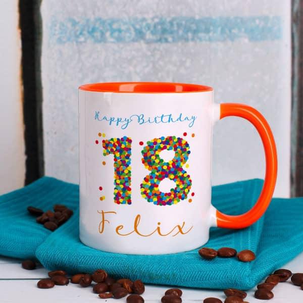 Tasse zum 18. Geburtstag mit bunter Konfetti Zahl