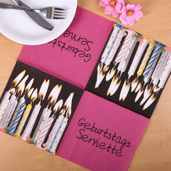 Geburtstags Serviette mit Kerzenmotiv