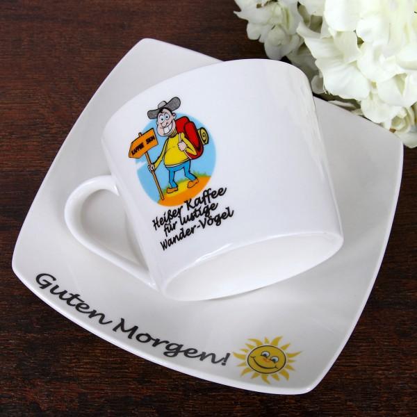 Kaffeetasse mit Untersetzer Wander Vögel