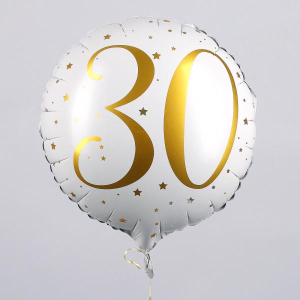 Folienballon zum 30. Geburtstag in weiß
