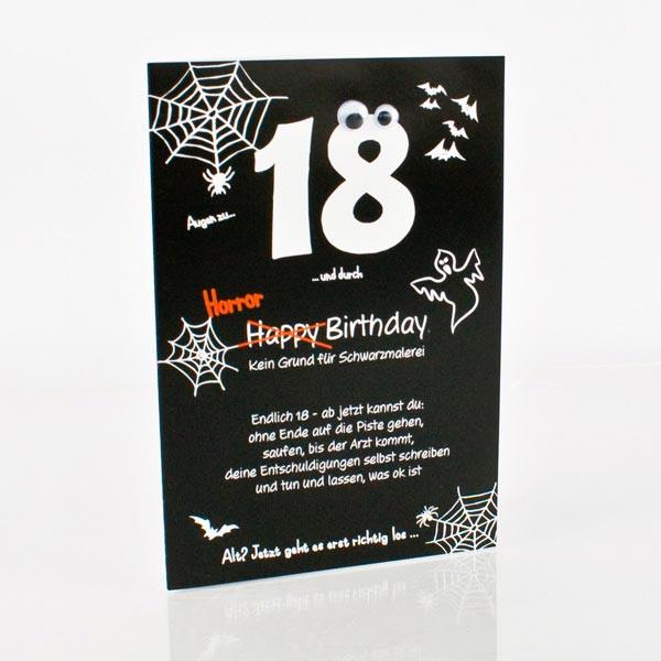 Geburtstagskarte zum 18. in schwarz