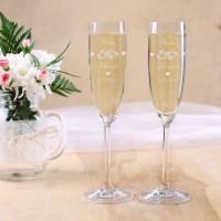 2 gravierte Leonardo Sektgläser zur Hochzeit mit Ringen