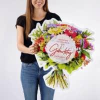 XXL Klappkarte Blumenstrauß zum Geburtstag bedruckt mit Name und Herzlichen Glückwunsch