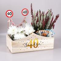 Bedruckte Holzkiste zum Geburtstag als Geldgeschenk oder Dekoration