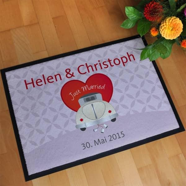 Just Married Hochzeitsfußmatte mit Wunschnamen und Datum